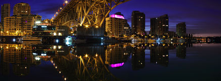 Granville Bridge Twilight Panorama, Vancouver Royalty Free Stock Image