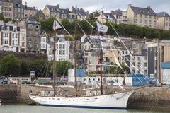 Sailing boat in Granville harbor in Normandy France. stock image