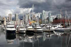 Granville Insel-Jachthafen, Vancouver Stockfotos