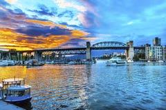 Granville Island Burrard Street Bridge Vancouver Briten Columbi Stockfotos