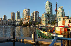 Granville island looking north BC Canada. Royalty Free Stock Photography