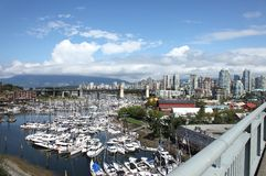 Granville island marina & skyline, Vancouver BC. Royalty Free Stock Photos