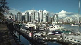 Granville Island Marina and Yaletown Vancouver 4K UHD stock video