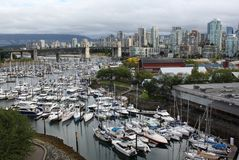 Granville Island and Vancouver Skyline Stock Photography