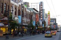 Granville Street en Vancouver Imagen de archivo libre de regalías