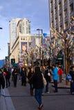 Granville Street pendant les 2010 Jeux Olympiques d'hiver Images libres de droits