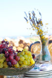 Grape. Plate and vase background Royalty Free Stock Image