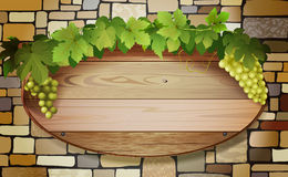 Grape banner. Vector conceptual banner with stone wall, wooden board and grapes, eps10 file, gradient mesh and transparency used Royalty Free Stock Photography