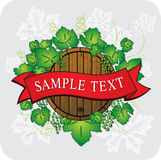 Grape and barrel with banner tape. Illustration royalty free illustration