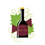 Grape berry leaf behind vine bottle. Colorful wine concept with a bottle and grapes both berry and leaf. Stock vector illustration on vineyard and vine products Royalty Free Stock Images