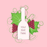 Grape berry leaf behind vine bottle. Colorful wine concept with a white bottle and grapes both berry and leaf. Stock vector illustration on vineyard and vine Royalty Free Stock Image
