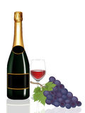 Grape,Bottle Wine And Glass Wine On White Royalty Free Stock Images