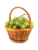 Grape bunch in wicker basket isolated close up Royalty Free Stock Photography