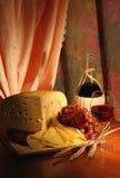 Grape, Cheese And Wine. Stock Photo