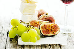 Grape, cheese and figs Royalty Free Stock Image