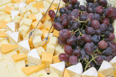 Grape cheese platter. Lovely Platter with grapes and cheeses Stock Photography