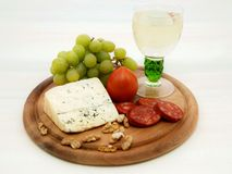 Grape, cheese and sausage Royalty Free Stock Image