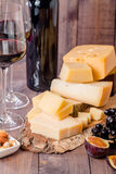 Grape and cheese variety with a red wine Royalty Free Stock Image