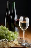 Grape, cheese and wine Stock Photography