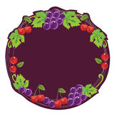Grape Cherry Frame. Grape and cherry composition make a frame. Can be used as label Royalty Free Stock Photography