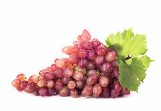 Grape cluster with leaves isolated Stock Photo