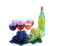 Grape cluster and wine Stock Photos