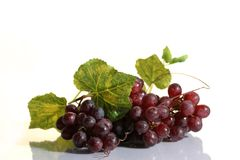 Grape Cluster With Leaves Stock Photo