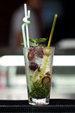 Grape coctail. With ice and mint Royalty Free Stock Photos