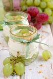 Grape dessert. White grape dessert with mascarpone Stock Photos