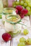 Grape dessert. White grape dessert with mascarpone Stock Images