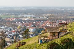 Grape fields above Heppenheim medieval town. Germany royalty free stock images