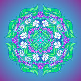 Grape flower mandala. Ornamental floral background. Flower ornate mandala Royalty Free Stock Photos