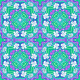 Grape flower mandala pattern. Endless floral background. Seamless tiling pattern with wine grape and flower leaves Vector Illustration