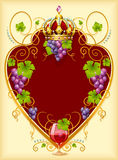 Grape frame with crown and wine glass Royalty Free Stock Image