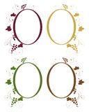 Grape frames. Set of four frames with grape fruit and leaves isolated on black background.EPS file available Royalty Free Stock Photo
