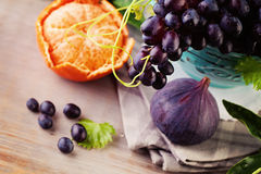 Grape with Fruit Background Stock Photo