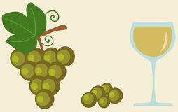 Grape and glass of white wine flat food and drink illustration Royalty Free Stock Photography