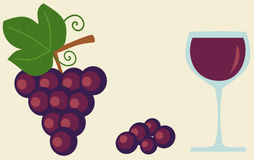 Grape and glass of wine flat food and drink illustration Royalty Free Stock Photography