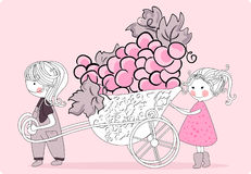 Grape harvest. Vector illustration of grape harvest Royalty Free Stock Images