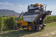Grape harvesting machine working in autumn Royalty Free Stock Photography