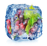 Grape in ice cube Stock Photos
