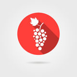 Grape icon in red circle with long shadow Royalty Free Stock Image