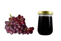 Grape jam isolated on white background. Bunch of grapes. Royalty Free Stock Photos