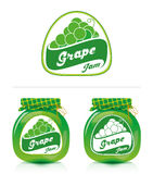 Grape jam label with jar. Jar of grape jam and designs for the label Stock Photos