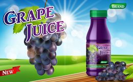 Grape juice bottle with bokeh background on wooden table. Juice container package ad. 3d realistic grape Vector. Illustration EPS 10 royalty free illustration