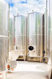 Grape juice fermentation tanks outdoor Royalty Free Stock Photo