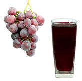 Grape juice and grape. Isolated on white Stock Photography