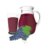 Grape juice and grapes, cup, vector, illustration, isolated on white background Stock Photo