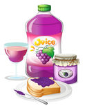 Grape juice, jam and sandwich Stock Photo