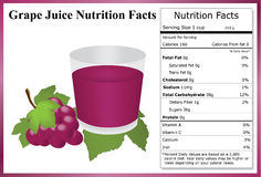 Grape Juice Nutrition Facts. Glass a grape juice, a clump of grapes and a nutrition label Royalty Free Stock Photo
